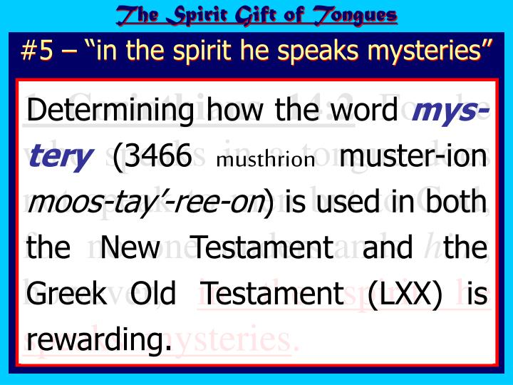 The Spirit Gift of Tongues