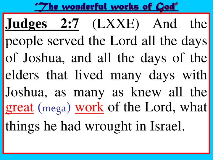 """The wonderful works of God"""