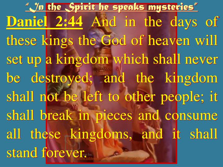 """In the Spirit he speaks mysteries"""