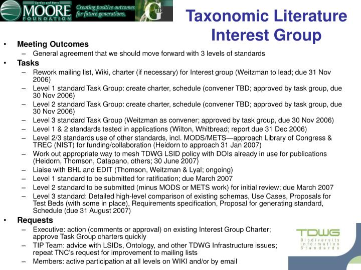 Taxonomic literature interest group