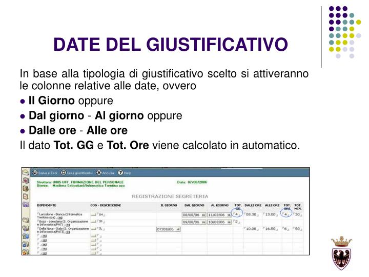 DATE DEL GIUSTIFICATIVO