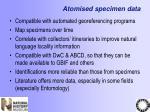 atomised specimen data