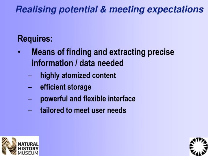 Realising potential & meeting expectations
