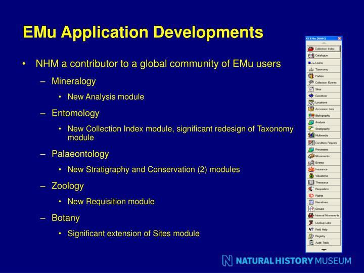 EMu Application Developments