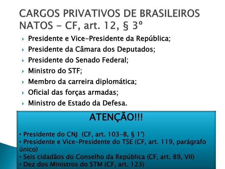CARGOS PRIVATIVOS DE BRASILEIROS NATOS - CF, art. 12, § 3º