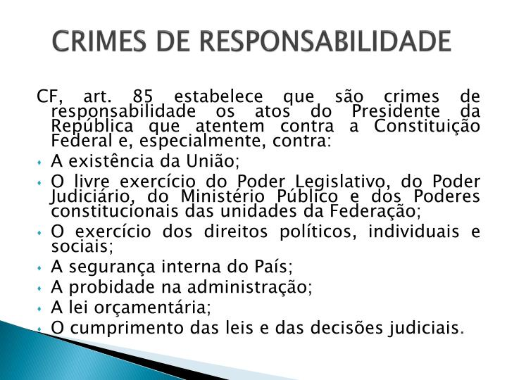 CRIMES DE RESPONSABILIDADE