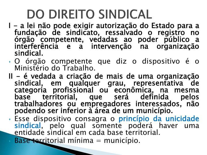 DO DIREITO SINDICAL