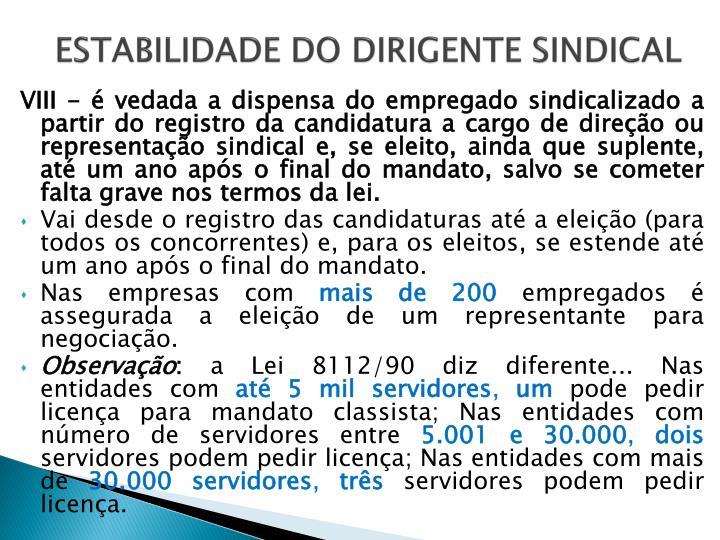 ESTABILIDADE DO DIRIGENTE SINDICAL