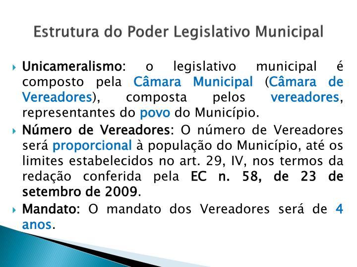 Estrutura do Poder Legislativo Municipal