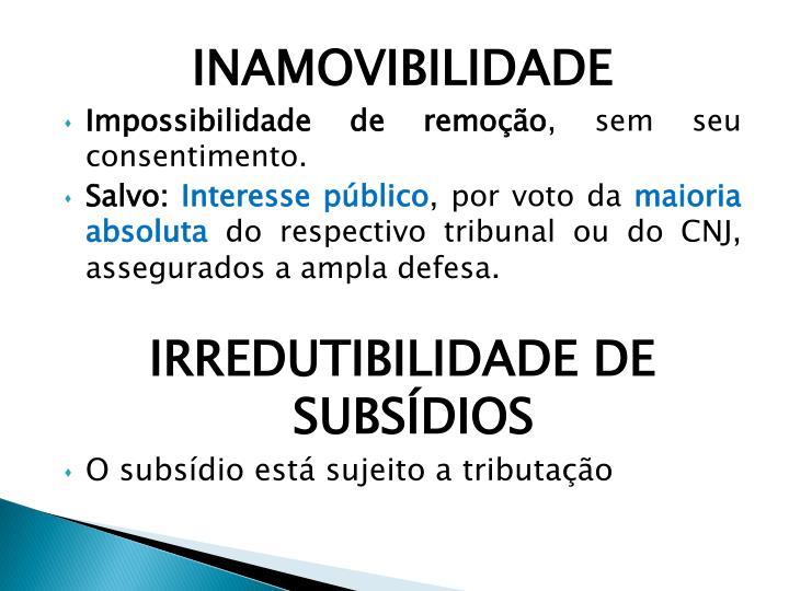 INAMOVIBILIDADE