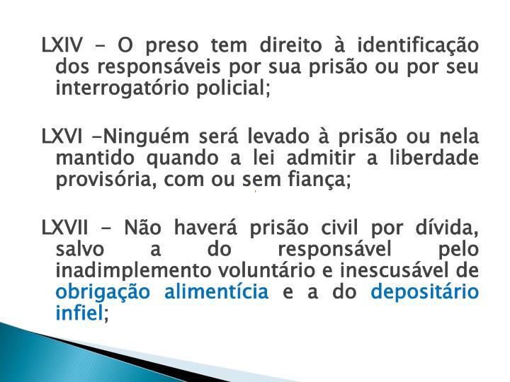 LXIV - O preso tem direito à identificação dos responsáveis por sua prisão ou por seu interrogatório policial;
