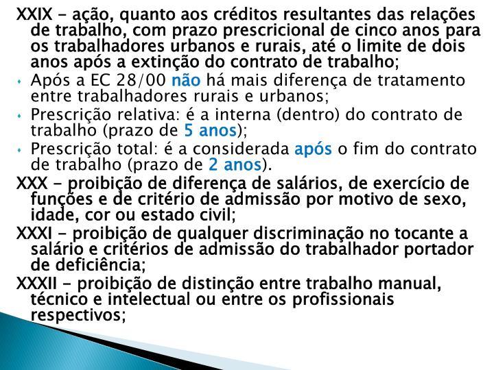 XXIX - ação, quanto aos créditos resultantes das relações de trabalho, com prazo prescricional de cinco anos para os trabalhadores urbanos e rurais, até o limite de dois anos após a extinção do contrato de trabalho;
