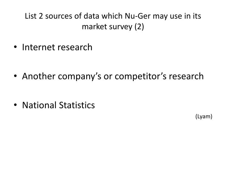 List 2 sources of data which Nu-Ger may use in its market survey (2)