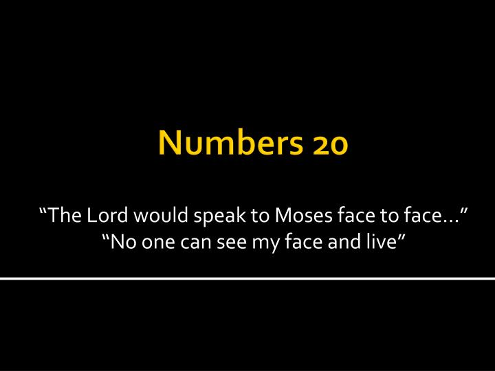 """""""The Lord would speak to Moses face to face…"""""""