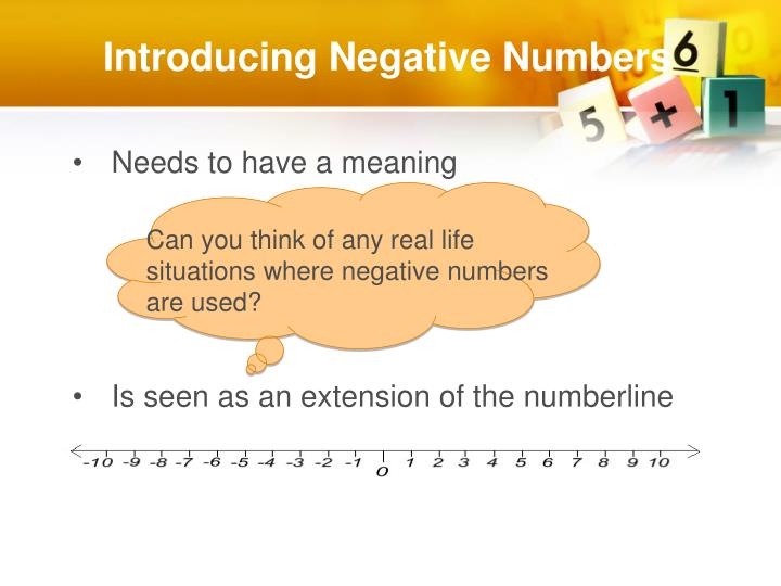 Introducing Negative Numbers