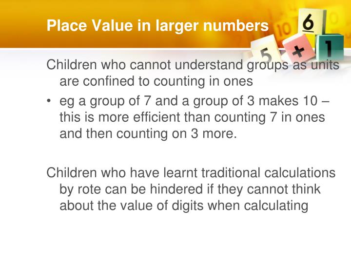 Place Value in larger numbers