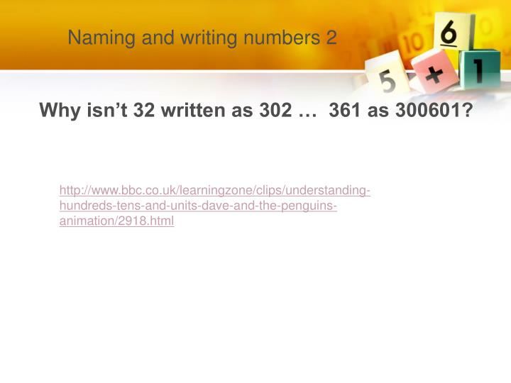 Naming and writing numbers 2