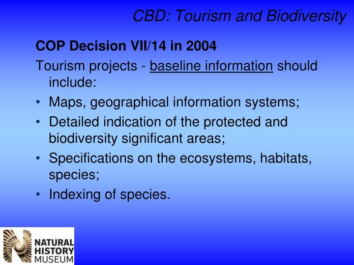 CBD: Tourism and Biodiversity