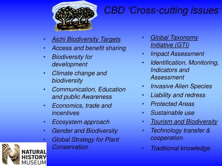 CBD 'Cross-cutting issues