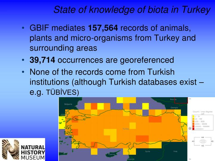State of knowledge of biota in Turkey