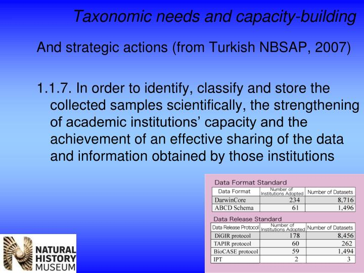 Taxonomic needs and capacity-building