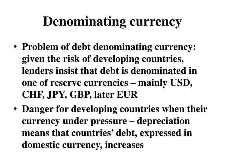 Denominating currency