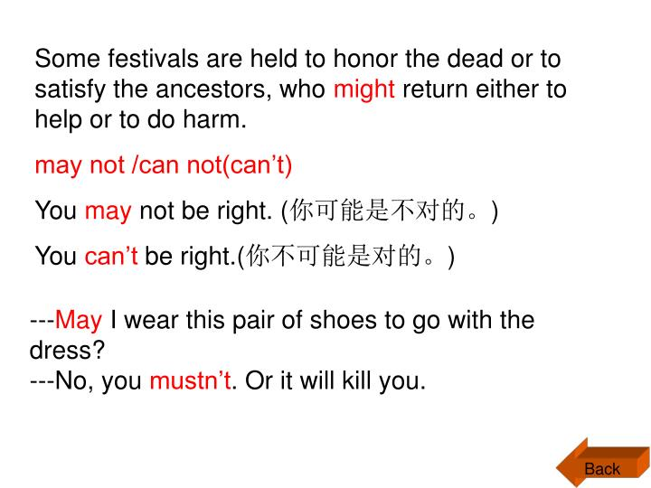 Some festivals are held to honor the dead or to satisfy the ancestors, who