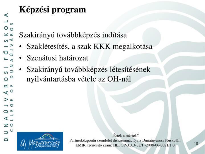 Képzési program