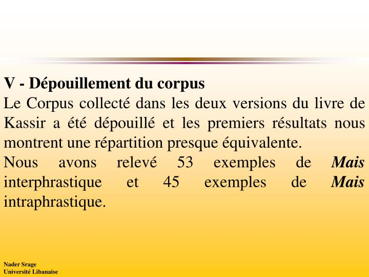 V - Dépouillement du corpus