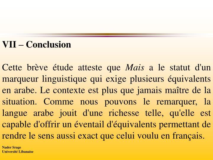 VII – Conclusion