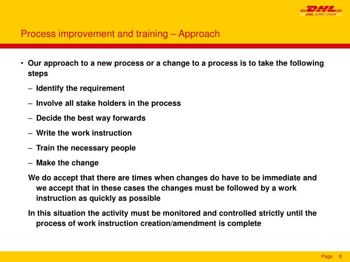 Process improvement and training – Approach