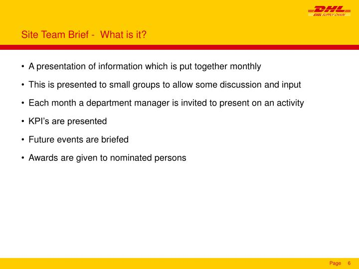 Site Team Brief -  What is it?