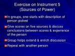 exercise on instrument 5 sources of power