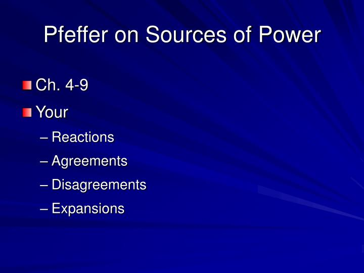 Pfeffer on Sources of Power