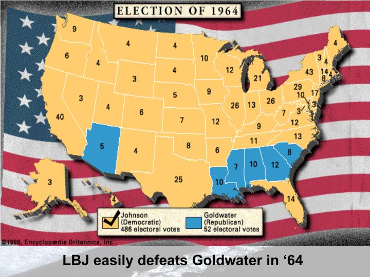 LBJ easily defeats Goldwater in '64