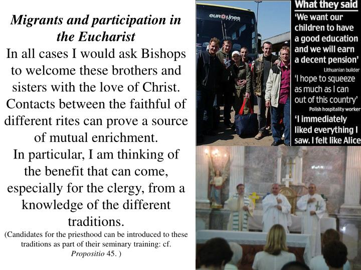 Migrants and participation in the Eucharist