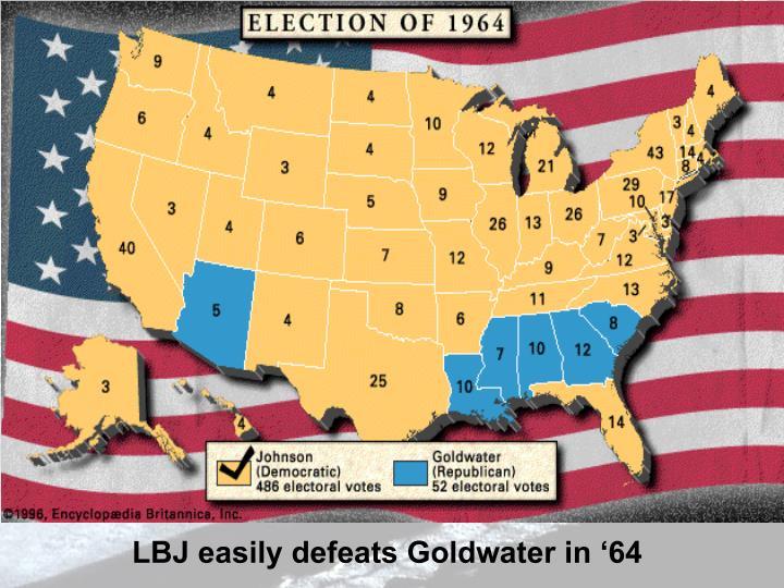 LBJ easily defeats Goldwater in '64