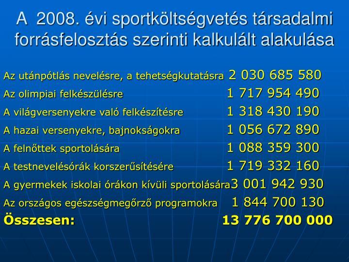 A  2008. évi sportköltségvetés társadalmi forrásfelosztás szerinti kalkulált alakulása