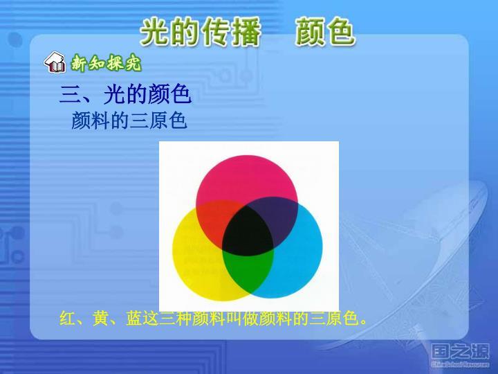 红、黄、蓝这三种颜料叫做颜料的三原色。