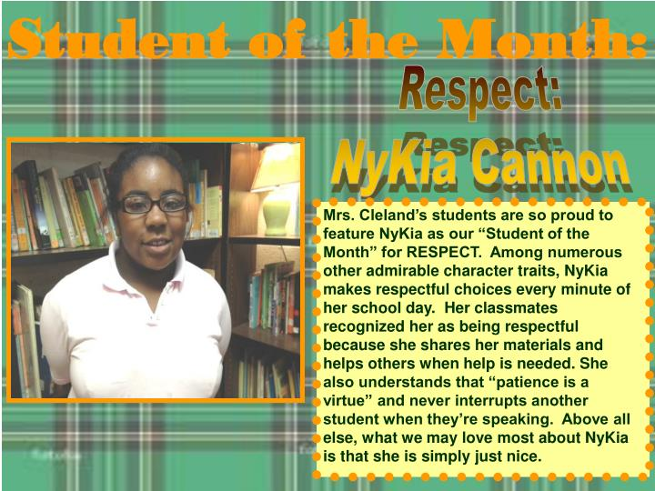 Student of the Month: