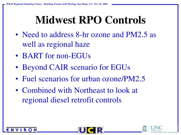 Need to address 8-hr ozone and PM2.5 as well as regional haze