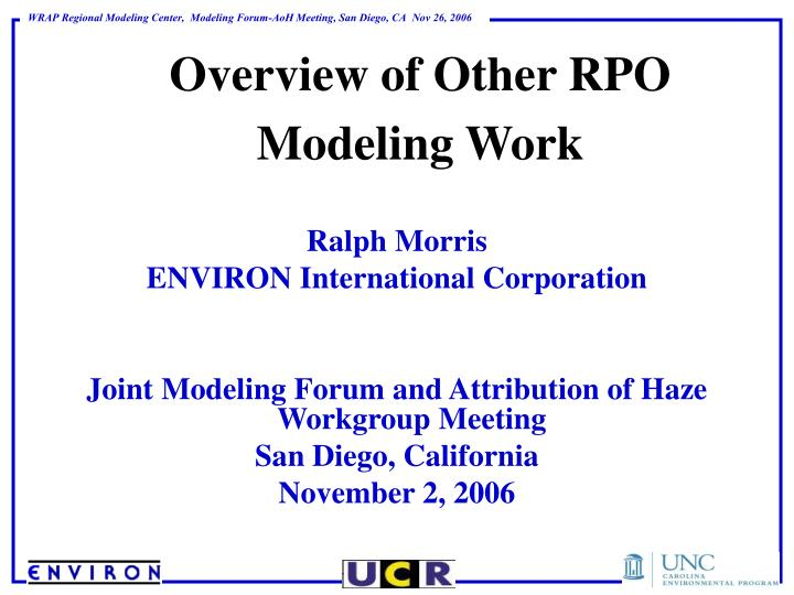 overview of other rpo modeling work