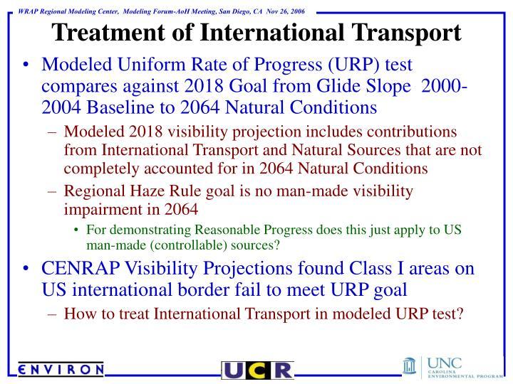 Treatment of International Transport