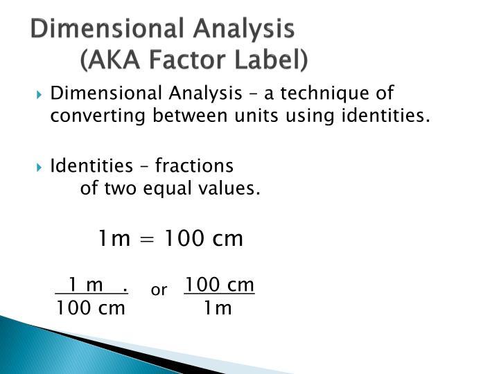 Dimensional Analysis (AKA Factor Label)