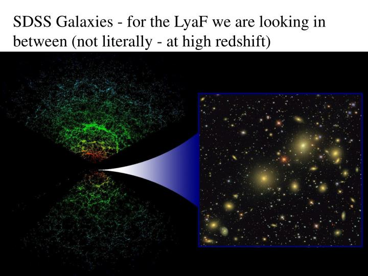 SDSS Galaxies - for the LyaF we are looking in between (not literally - at high redshift)