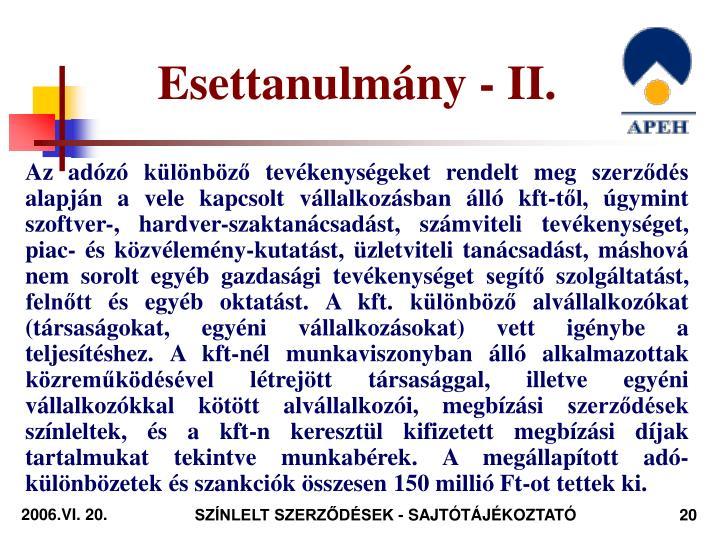 Esettanulmány - II.