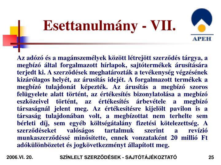 Esettanulmány - VII.