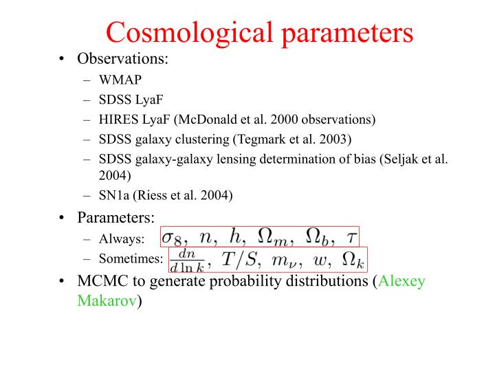 Cosmological parameters