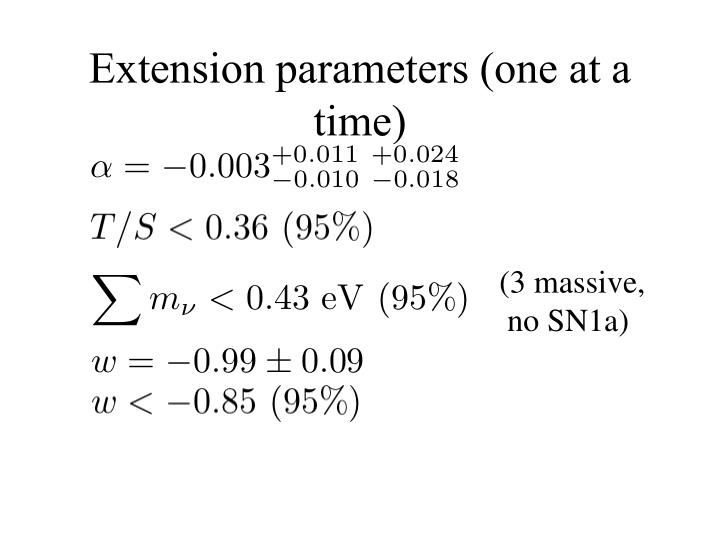 Extension parameters (one at a time)