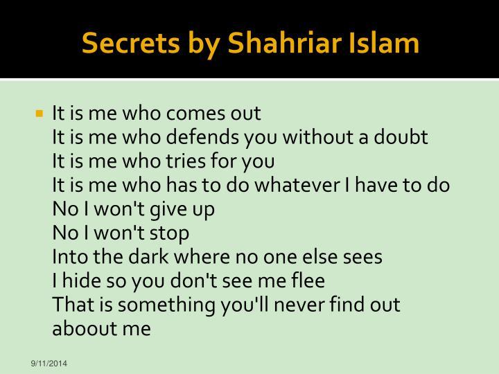 Secrets by Shahriar Islam